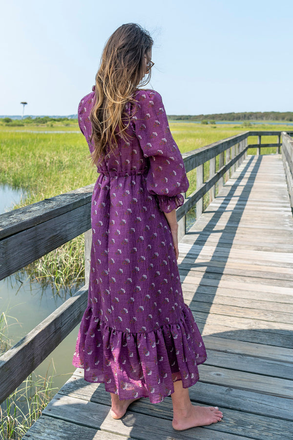 Alexis Puff Sleeve Maxi Dress in Purple