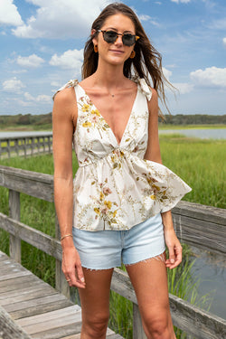 Ribes Cotton V-Neck Shirt in Floral