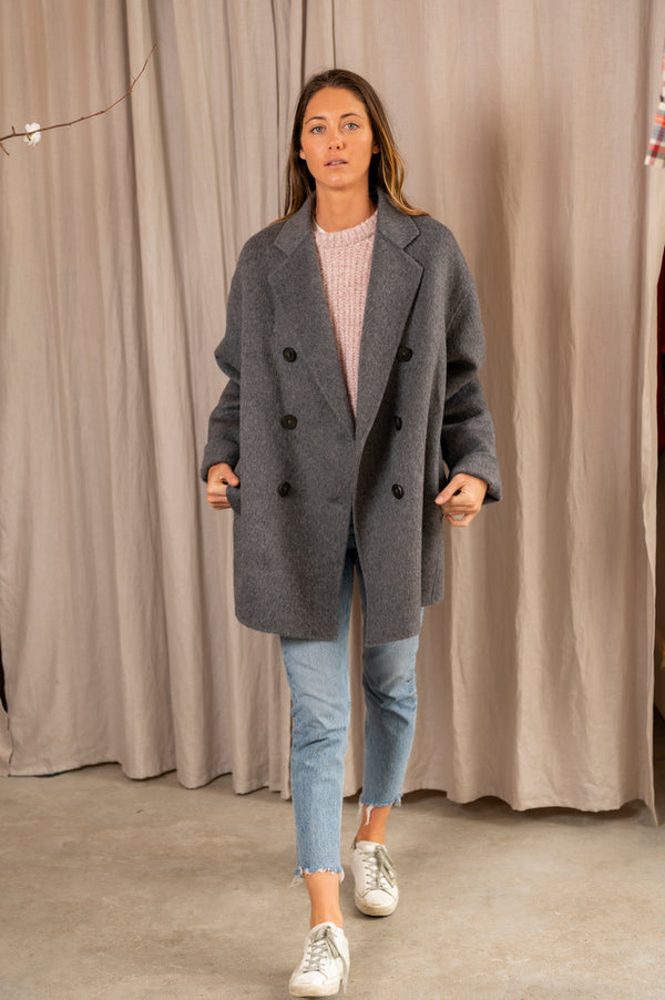 Women's Odine Double Textured Jacket in Grey Melange
