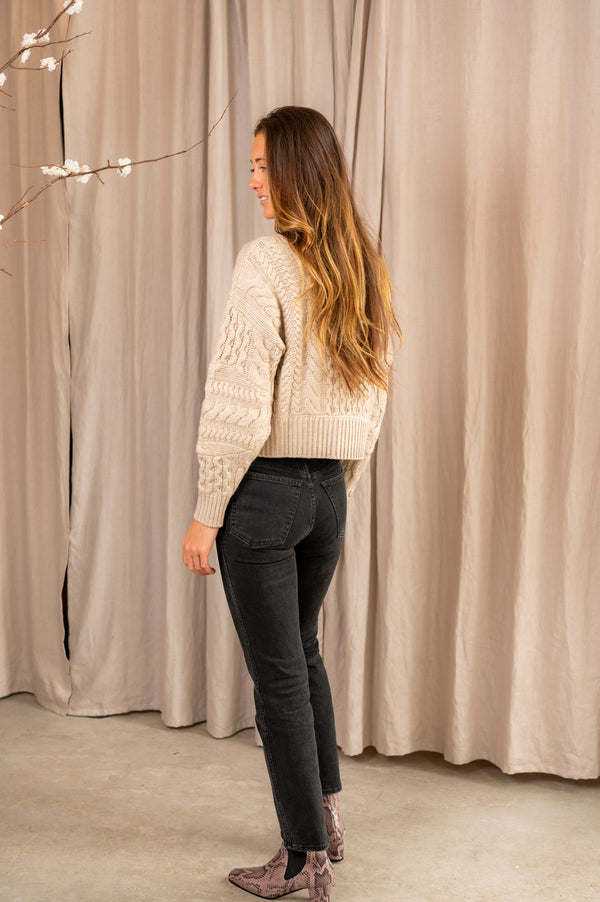 Cable Crew Neck Sweater in Oatmeal