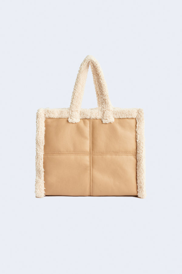 Lola Faux Shearling Bag in Beige Off White