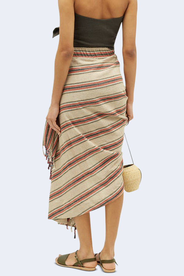 Tulum Stripe Sarong Skirt in Red Brown