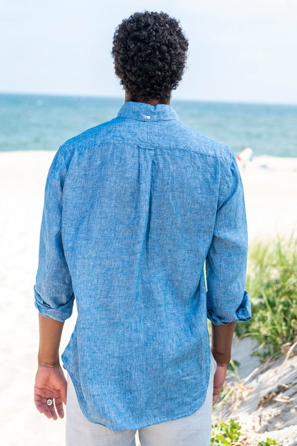 Linen Long Sleeve Button Down Shirt in Chambray