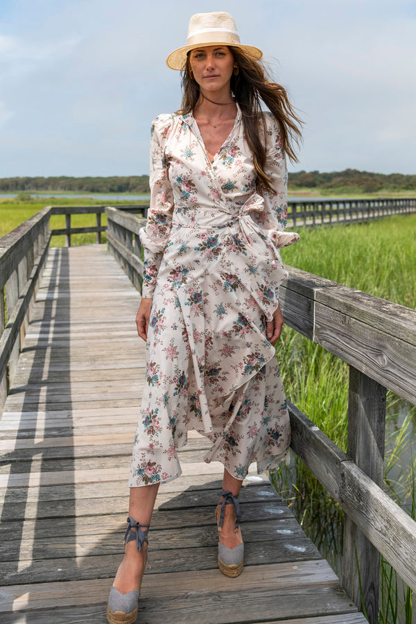 Stella Long Sleeve Midi Liberty Dress in Cream Prairie Flower