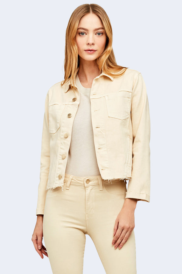 Janelle Slim Raw Jacket in Coconut