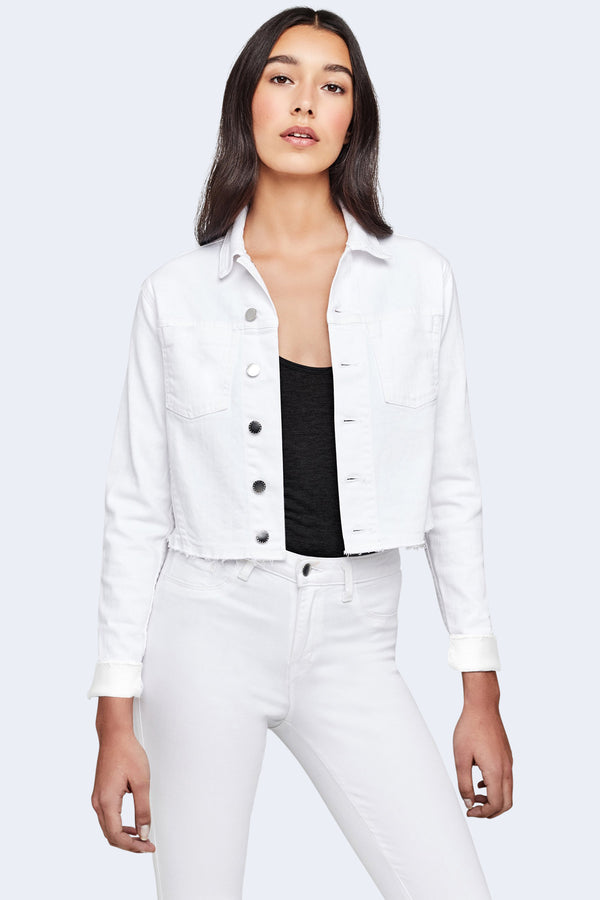 Janelle Slim Raw Jacket in Blanc