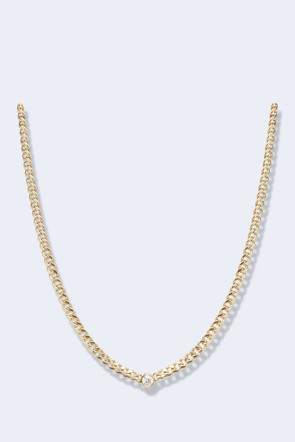 14K Gold Small Curb Chain Necklace with Floating White Diamond