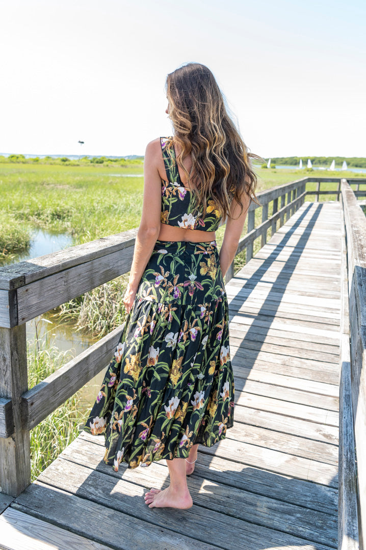 Anis Midi Skirt in Black Floral Print