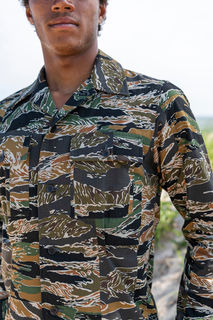 Cavendish Camo Shirt Jacket in Kaki