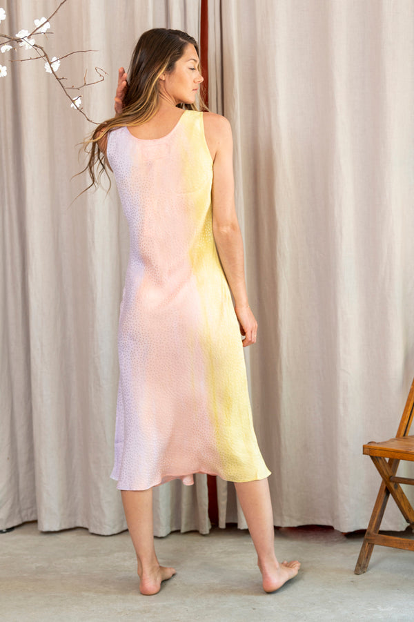 Celeste Charmeuse V Neck Dress in Rainbow