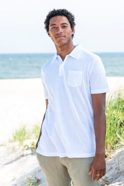 Riviera Short Sleeve Polo Shirt in White