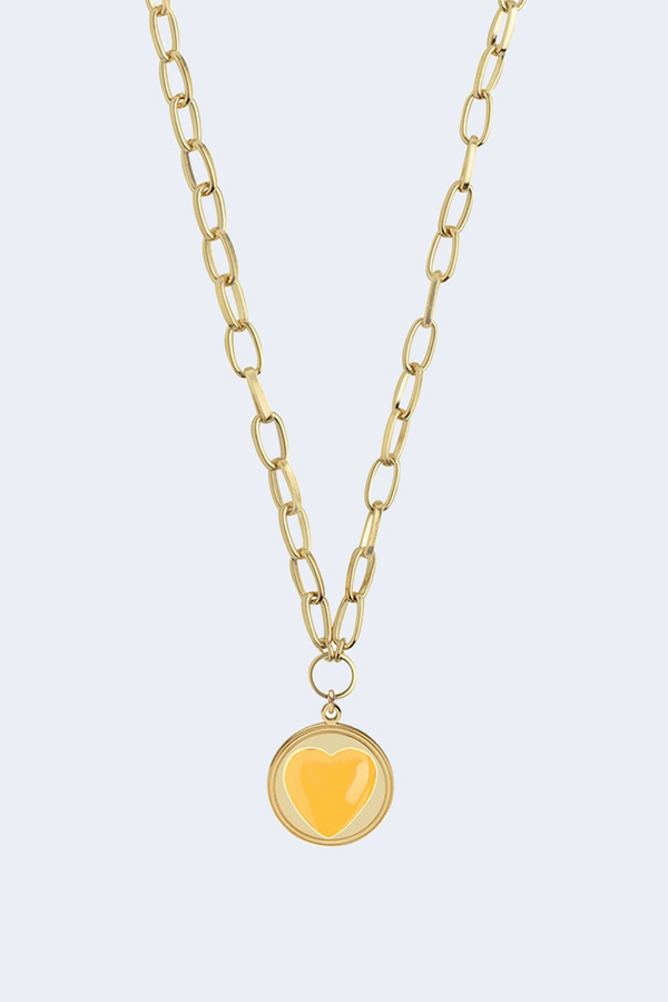 18K Gold Plated Yellow Enamel Heart Necklace