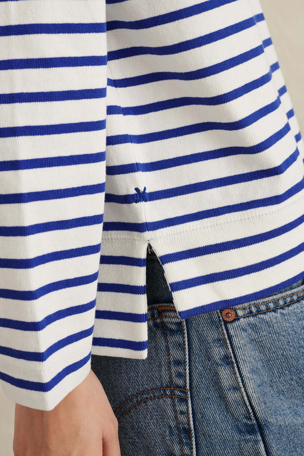 Women's Lakeside Stripe Tee in Natural Blue