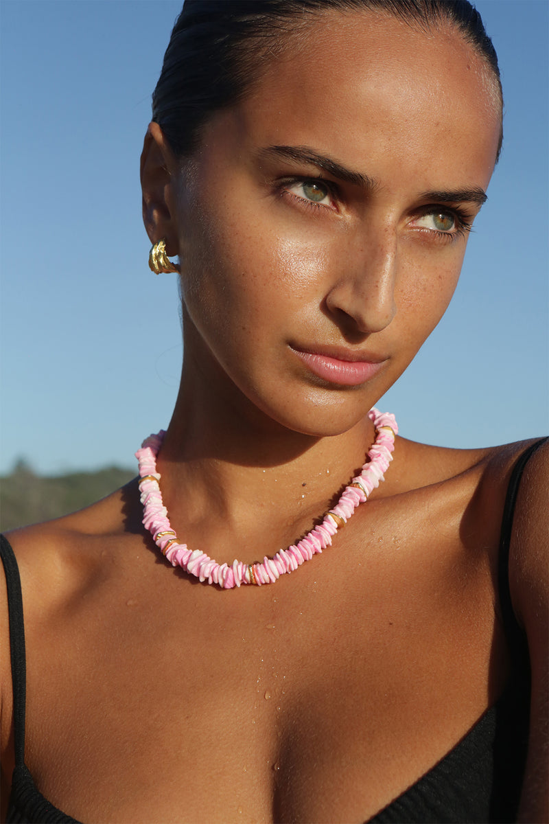 Pink Puka Necklace in Pink Puka