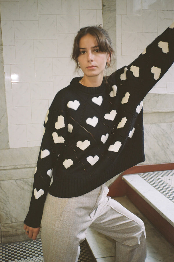 Intarsia Hearts Sweater in Black Ivory
