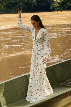 Frambuesa Maxi Dress in White Butterfly Print