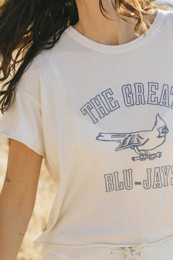 The Crop Tee with Blue Jay Graphic in Washed White