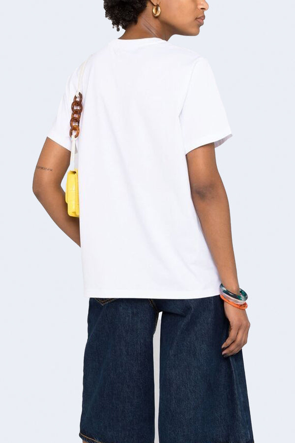Basic Cotton Jersey Tee in Bright White