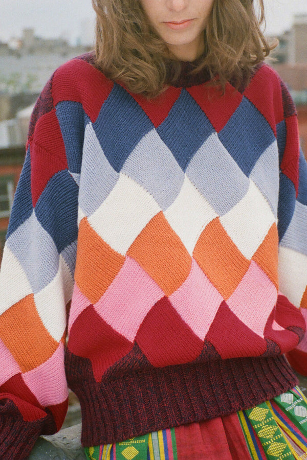 Basket Weave Sweater in Multicolor