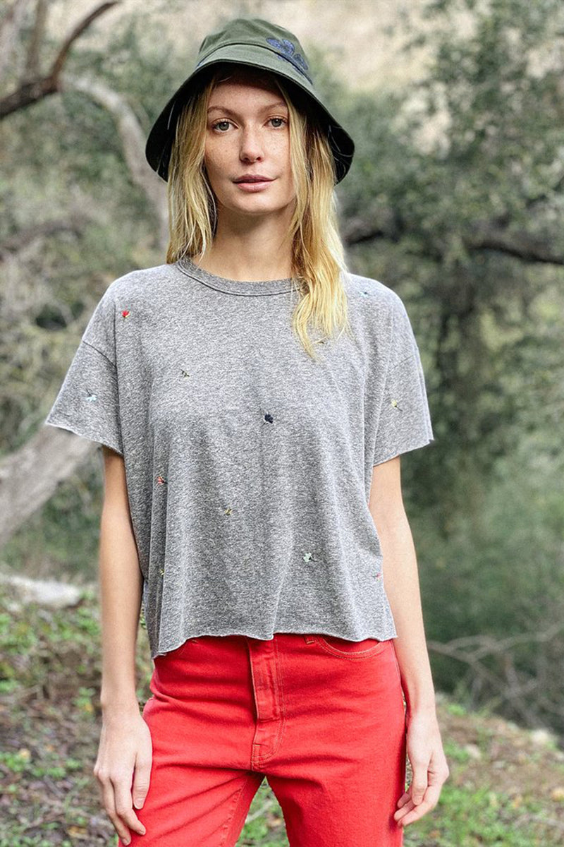 The Crop Tee with Tossed Floral Embroidery in Heather Grey