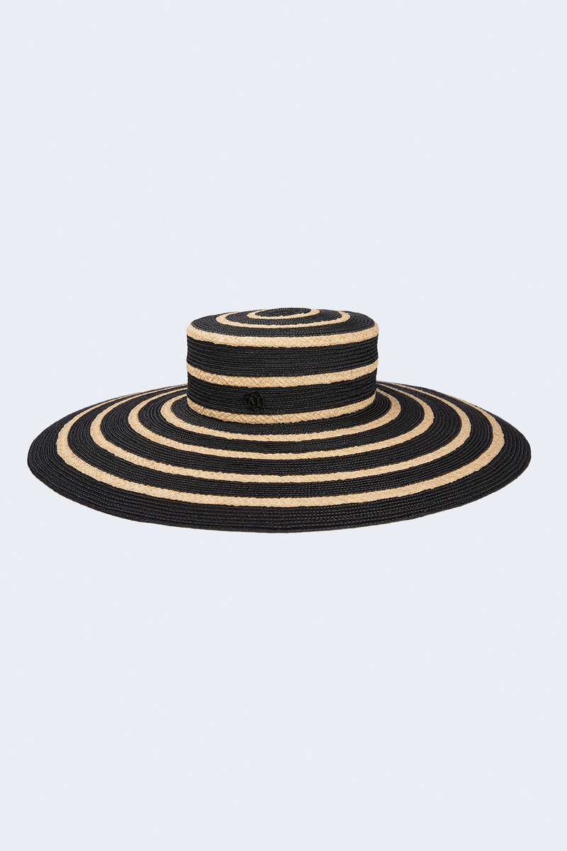 Ursula Black and Natural Straw Mix Hat