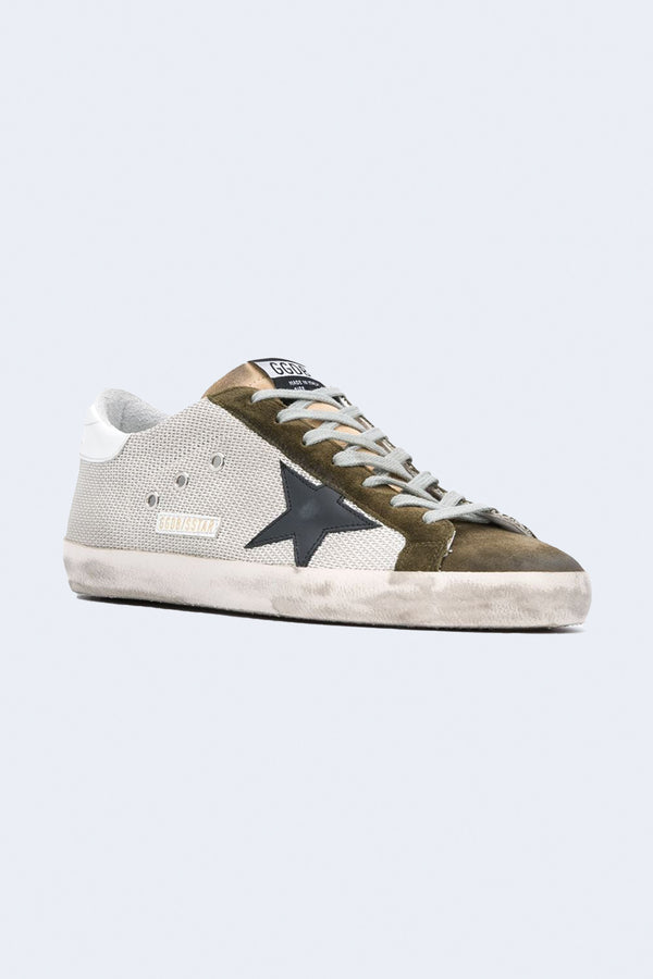 Men's Superstar Sneakers in Silver Drill Green Black White