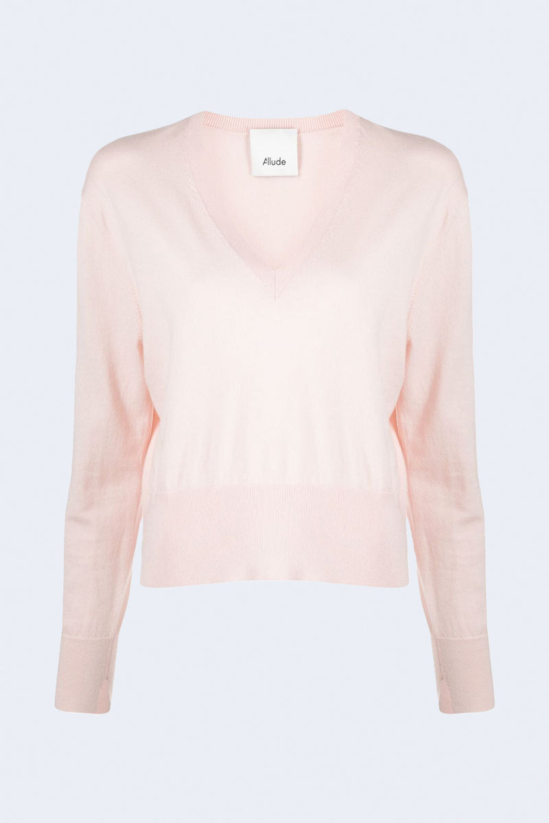 V Neck Pullover Sweater in Petit Four