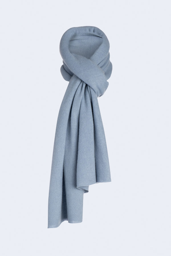 Knit Throw Cashmere Scarf in Dusty Blue