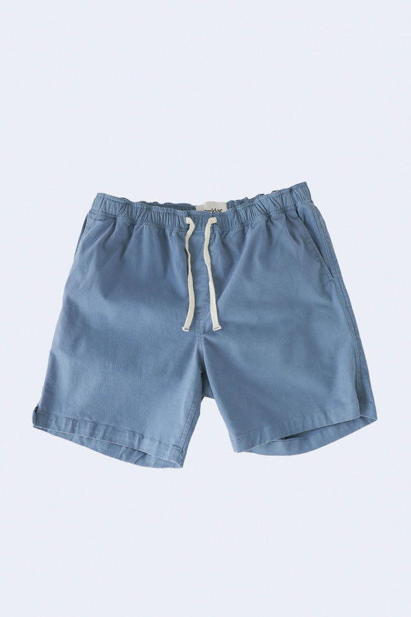 Washed Down Drawstring Shorts in Vintage Indigo