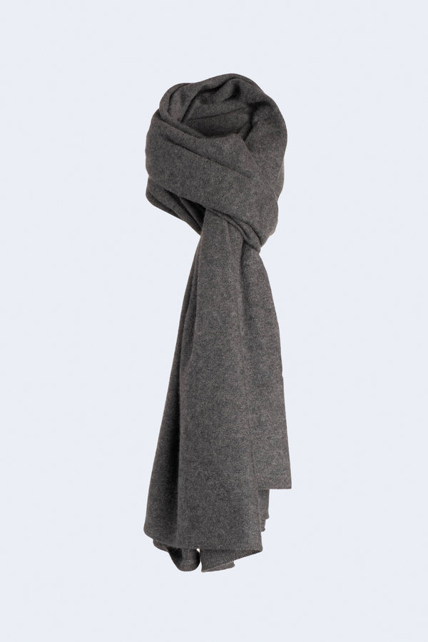 Knit Throw Cashmere Scarf in Granite