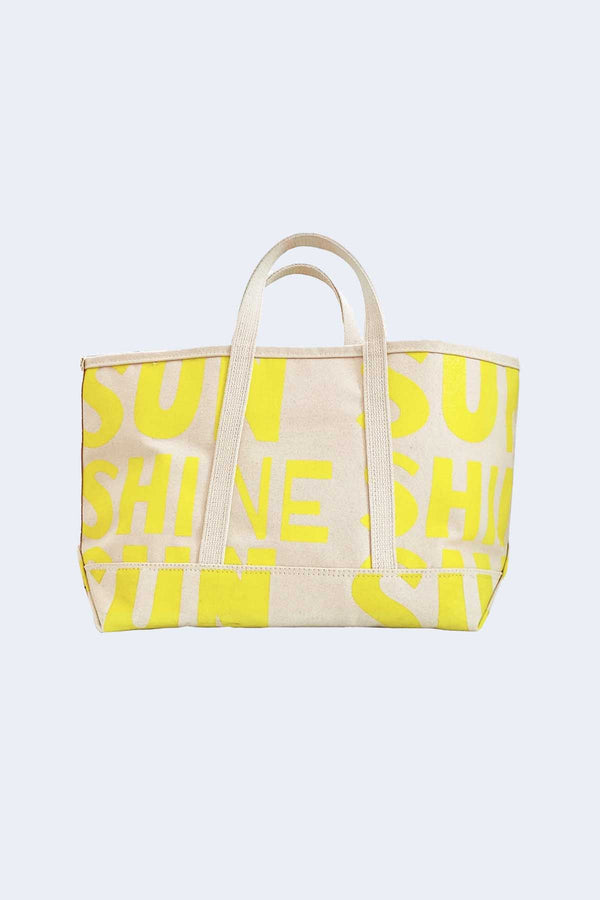Beach Canvas Small Tote in Yellow Sunshine