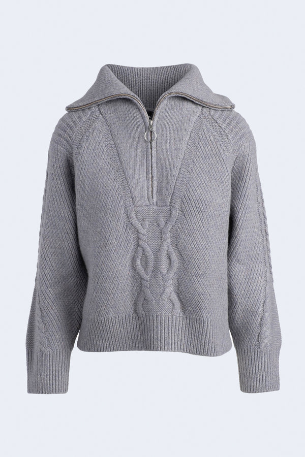 Cable Half Zip Sweater in Marled Gray