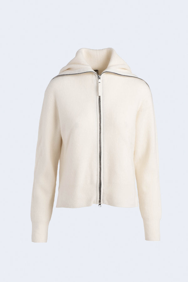 Ribbed Cashmere Zip Up Sweater in White