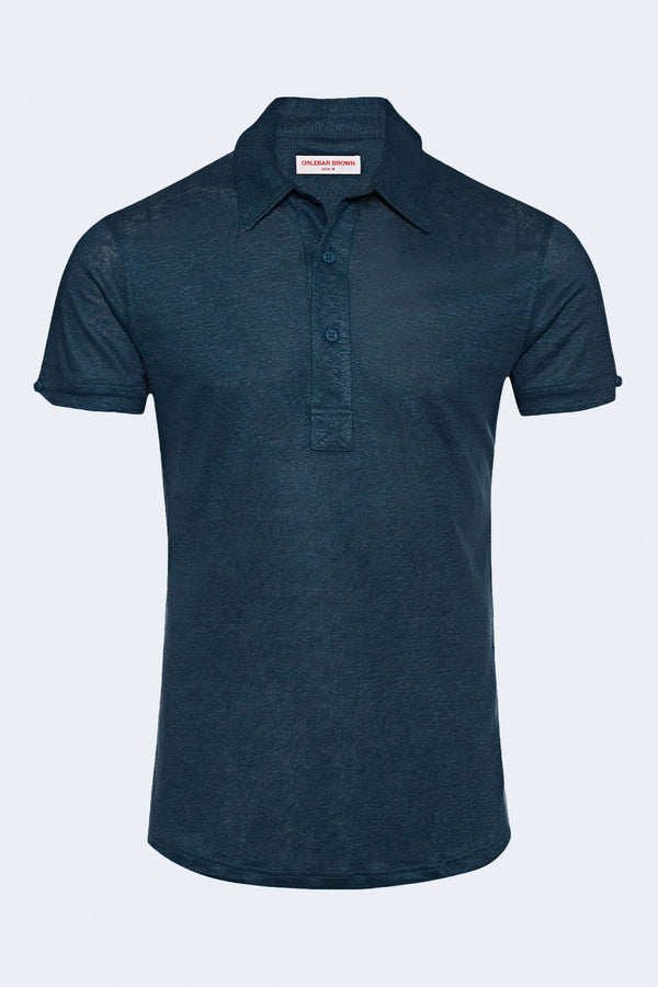 Sebastian Linen Polo in Blue Slate