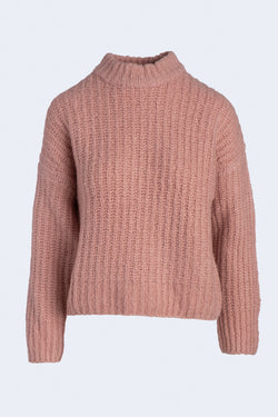 Ribbed Chunky Mock Neck Sweater in Light Pink