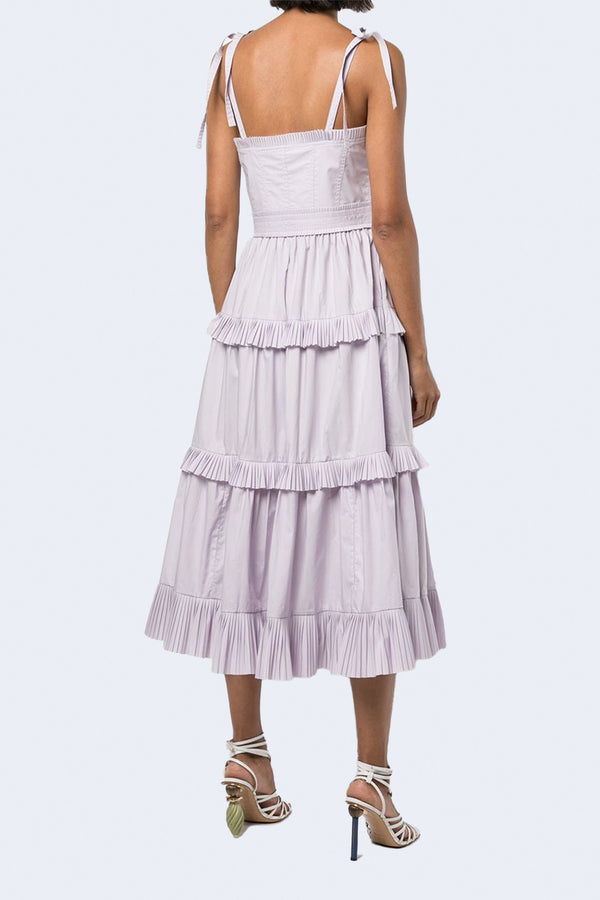 Lune Solid Poplin Dress in Thistle