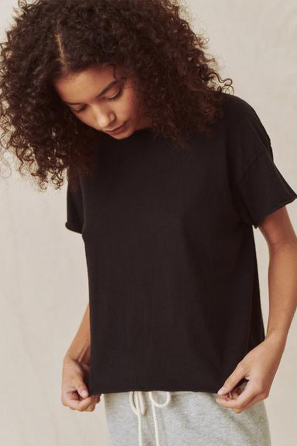 The Crop Tee in Almost Black