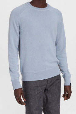 Men's Harlow Cotton Cashmere Crew in Dusty Blue