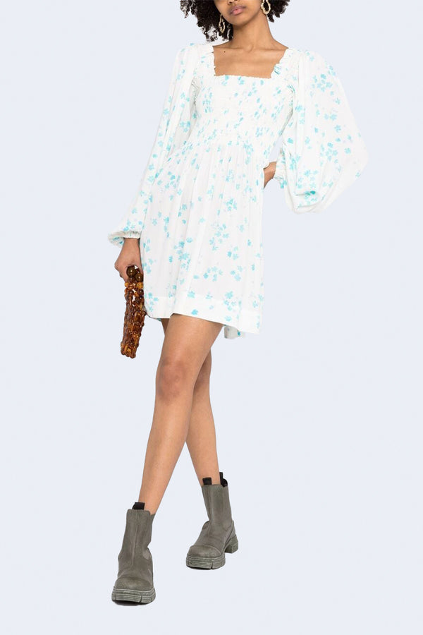 Printed Crepe Dress in Egret