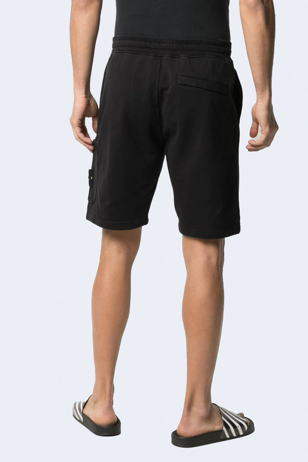Fleece Shorts with Tie Waist and Side Pocket in Black