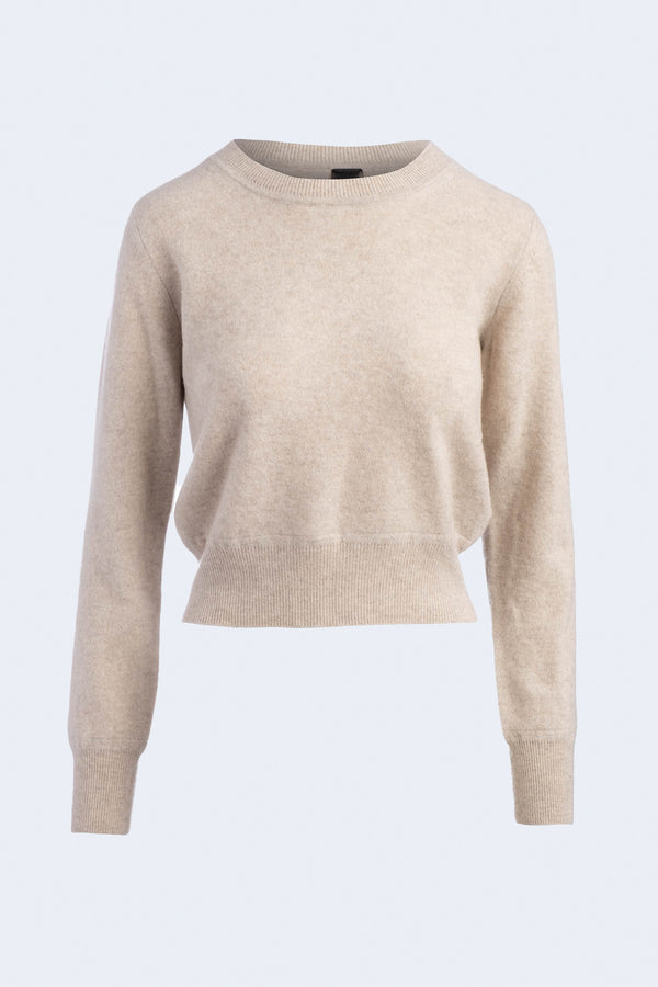 Cashmere Long Sleeve Pullover in Oatmeal