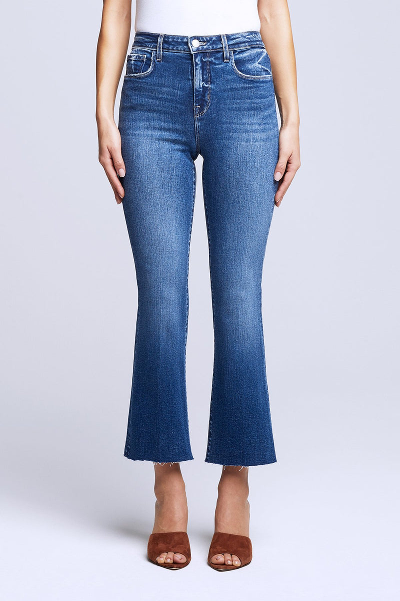 Kendra High Rise Crop Flare Jeans in Laredo
