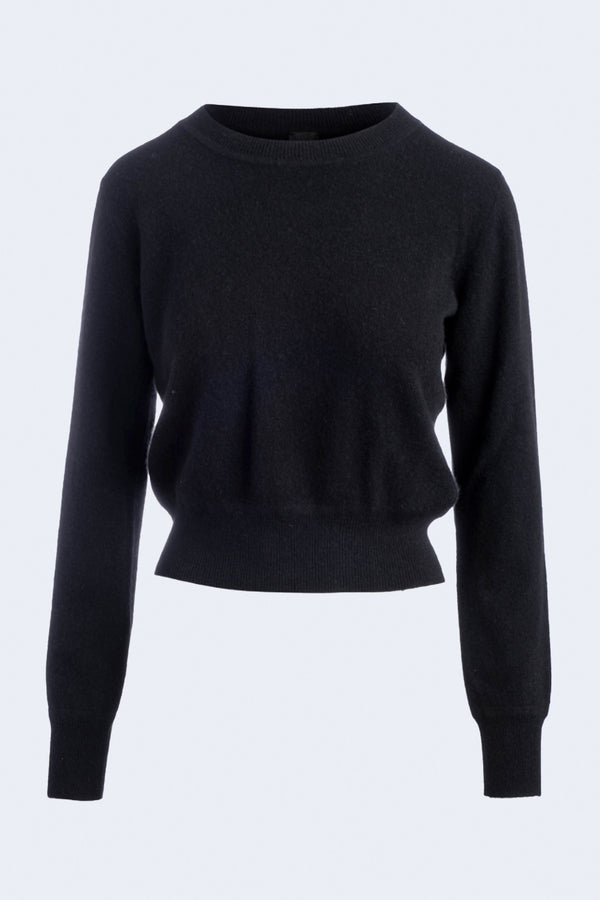 Long Sleeve Cropped Cashmere Pullover in Black