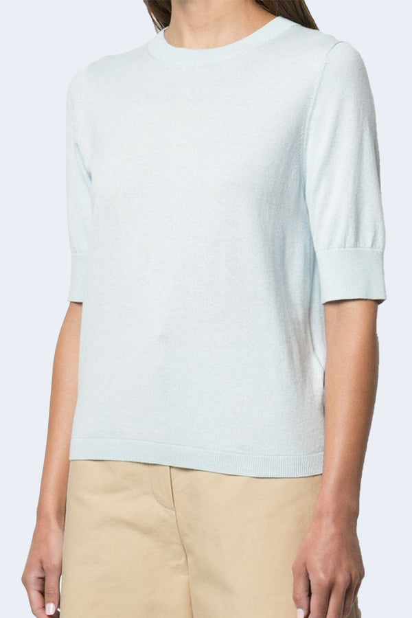 Round Neck Short Sleeve Sweater in Blue Claire