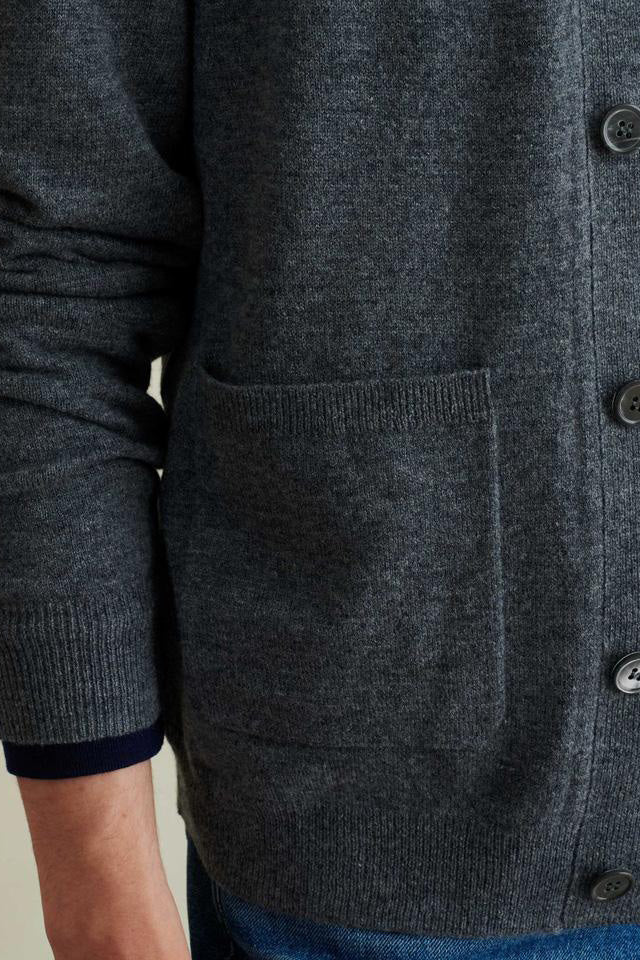 Men's Cardigan in Superfine Merino in Dark Grey
