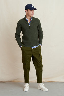 Men's Extrafine Merino Half Zip Sweater in Olive