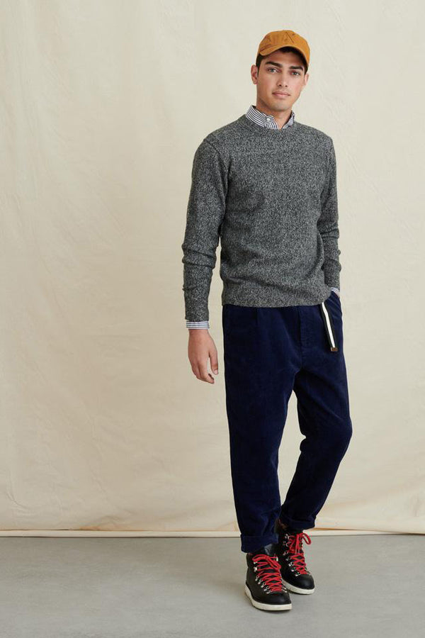 Men's Reverse Seam Sweater in Superfine Merino in Marled Grey