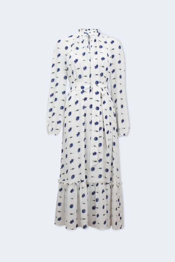 Antoinette Floral Printed Long Sleeve Dress with Tie in White Buds and Bloss