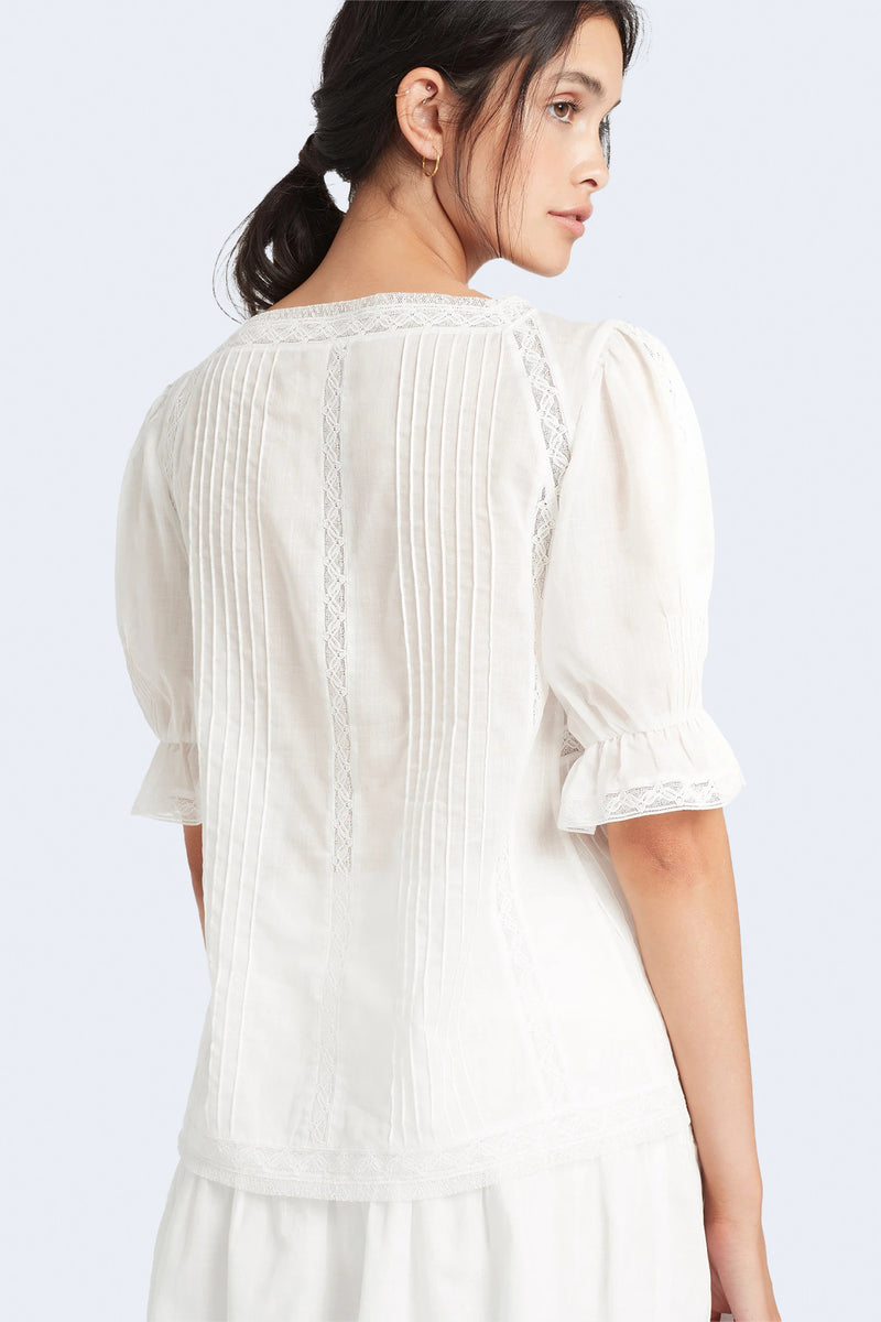 Caprice Pleated Top in Ivory