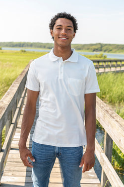 Archie Short Sleeve Polo in White